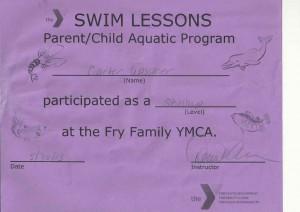 carter swim certificate